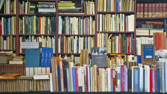 Sebuah Rak yang Dipenuhi dengan Berbagai Jenis Buku