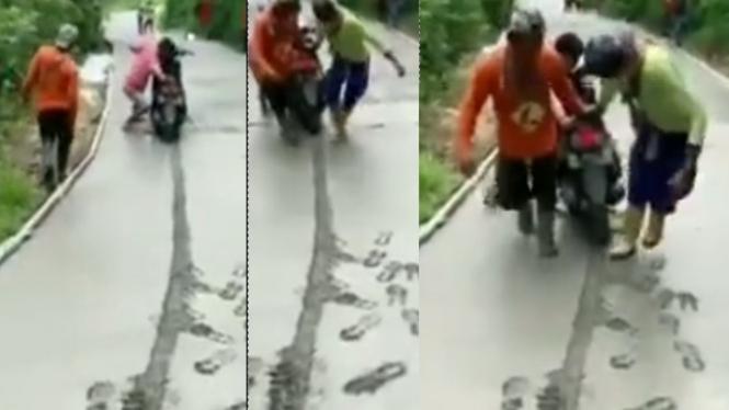 Viral Pemotor pucat pasi Diomelin Pengecor Jalan (Instagram/lambenyiinyir)