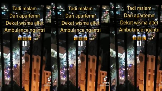 Viral antrean ambulance ke Wisma Atlet (TikTok/stellaben01)