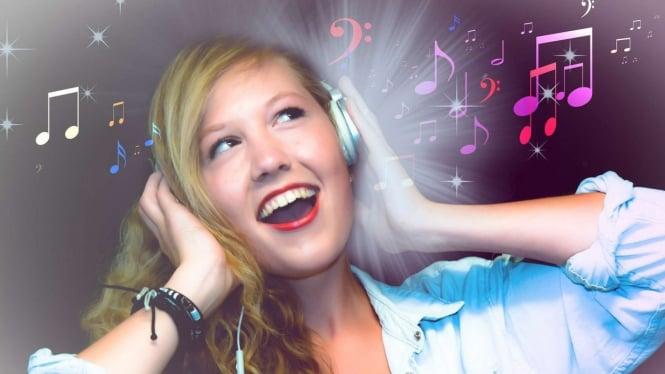 Ilustrasi orang sedang Mendengarkan musik