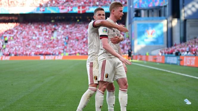 Pemain Belgia dalam pertandingan melawan Denmark