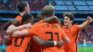 Pemain Belanda merayakan gol ke gawang Austria