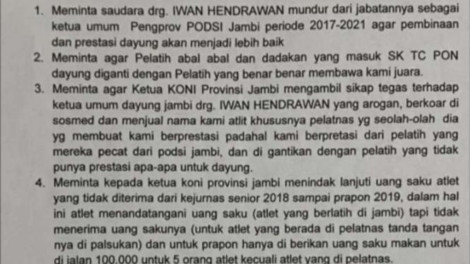 Surat pernyataan atlet Jambi.