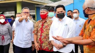 Menteri BUMN Erick Thohir dan Ketum PAN Zulkifli Hasan keliling di Lampung
