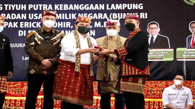 Erick Thohir dapat gelar kehormatan adat Lampung