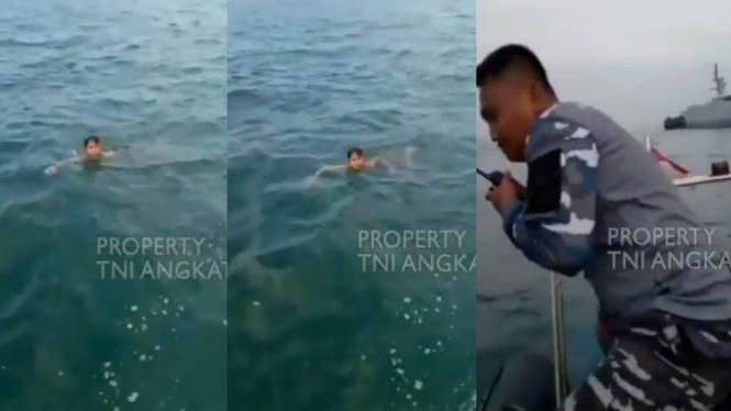 Viral bocah terapung diselamatkan parajurit TNI AL (Instagram/tni_angkatan_laut)