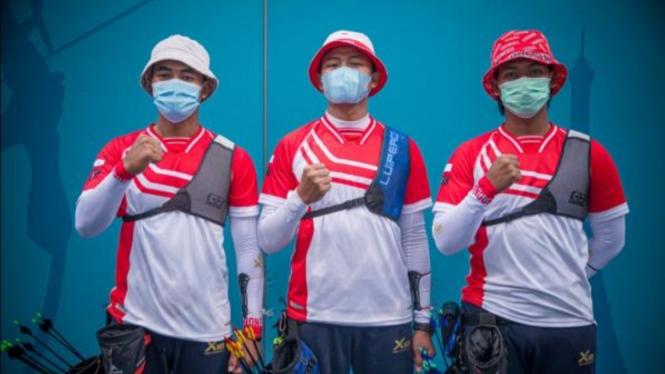Tim panahan beregu putra Indonesia.