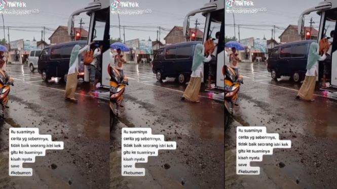 Viral Istri dorong paksa suami naik bus (TikTok/cikosanjaya26)
