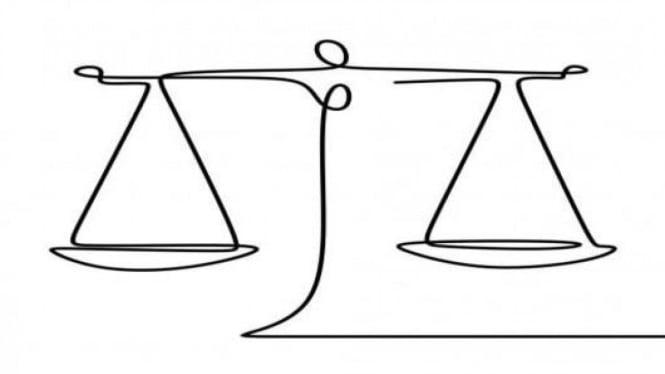 Ilustrasi sifat hukum diibaratkan sebuah timbangan.