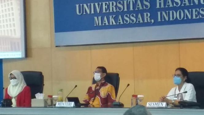 Sandiaga Uno saat di kampus Unhas Makassar