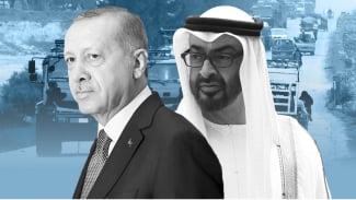 Presiden Turki Recep Tayyip Erdogan dan Pemimpin UEA Sheikh Mohammed bin Zayed.