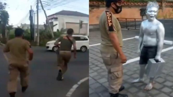 Viral video satpol PP Bali kejar manusia silver (Instagram/ndorobii)