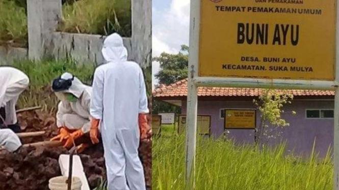Sejumlah petugas pemakaman dengan pakaian dekontaminasi alias hazmat menguburkan jenazah pasien COVID-19 di Tempat Permakaman Umum Buni Ayu, Sukamulya, Kabupatan Tangerang, Banten, Rabu, 23 Juni 2021.