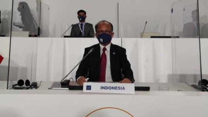 Sekjen Kemnaker Anwar Sanusi dalam pertemuan G20.