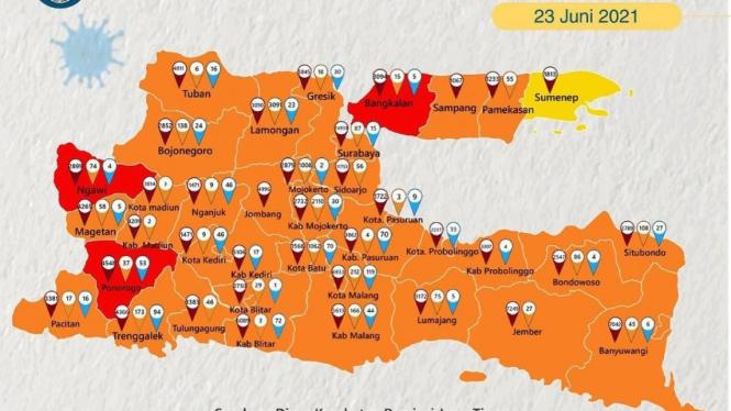 Tiga Kabupaten di Jawa Timur kembali zona merah.