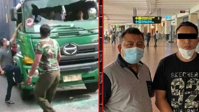 Pengemudi Pajero (baju hitam foto kanan) pukuli sopir truk di Sunter sudah ditangkap