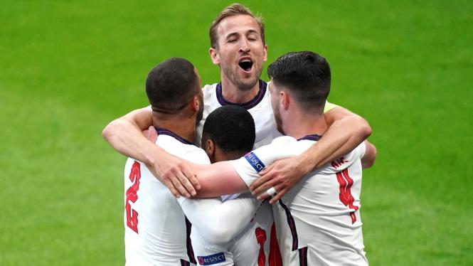Harry Kane merayakan gol ke gawang Jerman