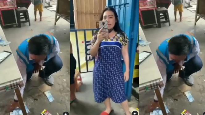 Viral Petugas PLN Dilempari Uang Tagihan Listrik (Instagram/makassar_iinfo)