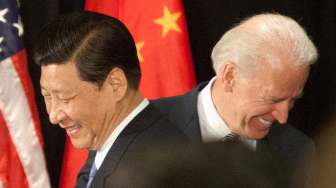 Presiden China Xi Jinping dan Presiden AS Joe Biden.