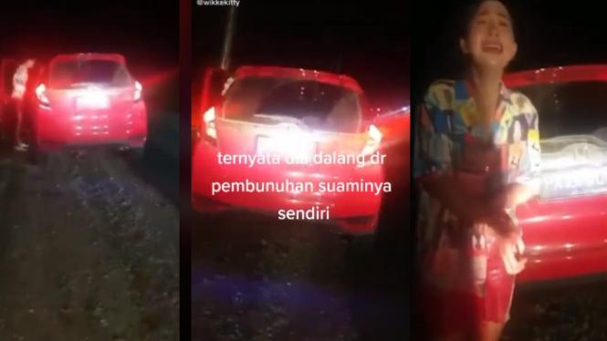 Viral Istri Tangisi Suaminya Korban Begal di Dalam Mobil (TikTok/wikkekitty)