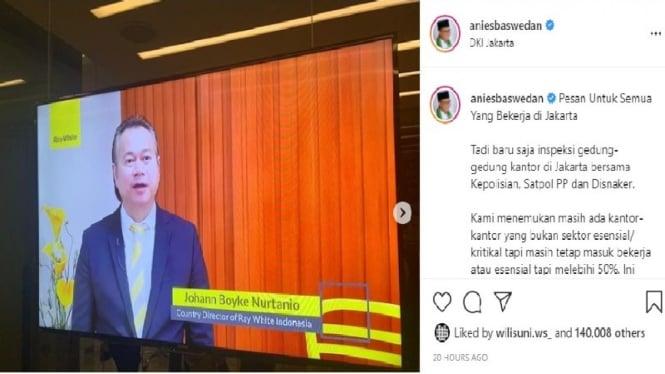 Anies Baswedan posting muka bos Ray White Indonesia di akun Instagramnya