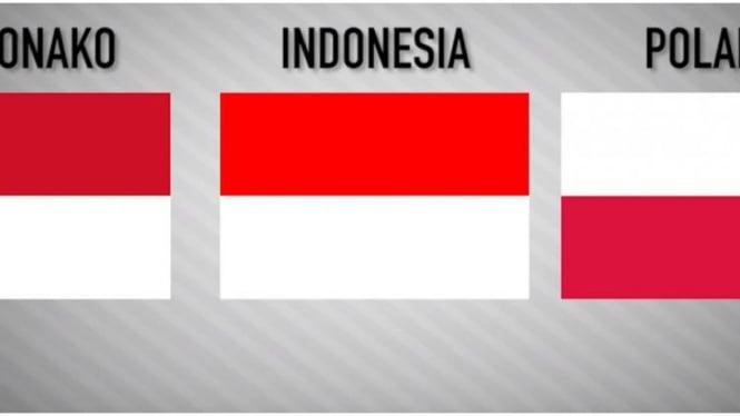Ilustrasi bendera Indonesia, Monaco dan Polandia
