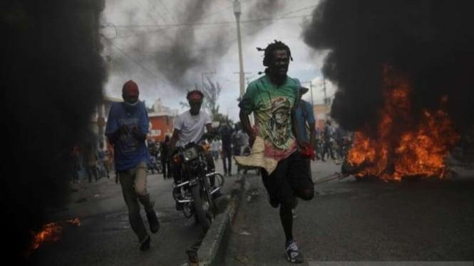 Aksi unjuk rasa menuntu pengunduran diri Presiden Haiti Jovenel Moise