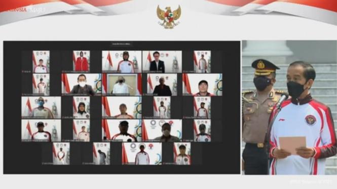 Presiden Indonesia Joko Widodo melepas kontingen Indonesia ke Olimpiade Tokyo