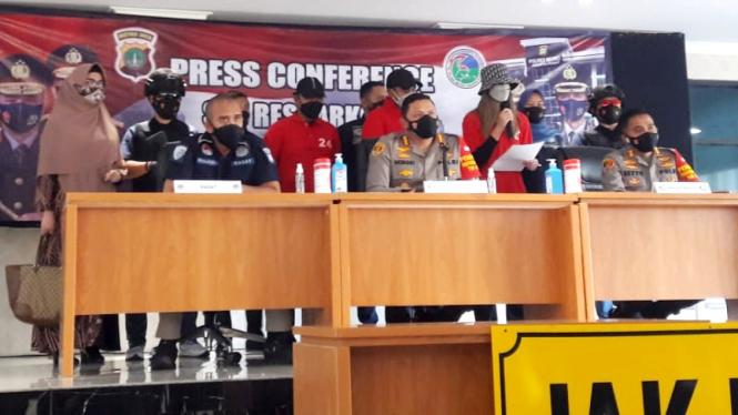 Konferensi pers di Polres Metro Jakarta Pusat