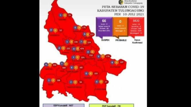 Peta sebaran COVID-19 di Kabupaten Tulungagung. Seluruh kecamatan sudah zona merah.