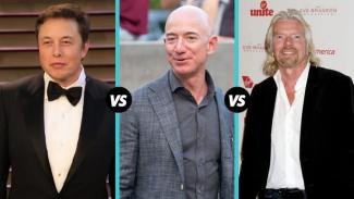 Tiga miliarder Elon Musk, Jeff Bezos dan Richard Branson, berlomba pamer wisata luar angkasa.