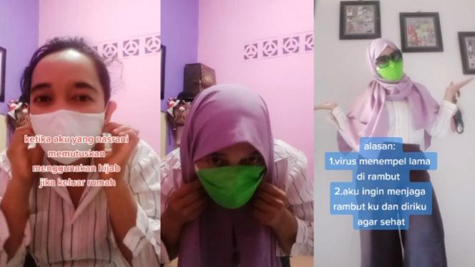 Wanita Nasrani Pakai Hijab untuk Lindungi  Rambutnya dari COVID-19 (TikTok/trisiska_)