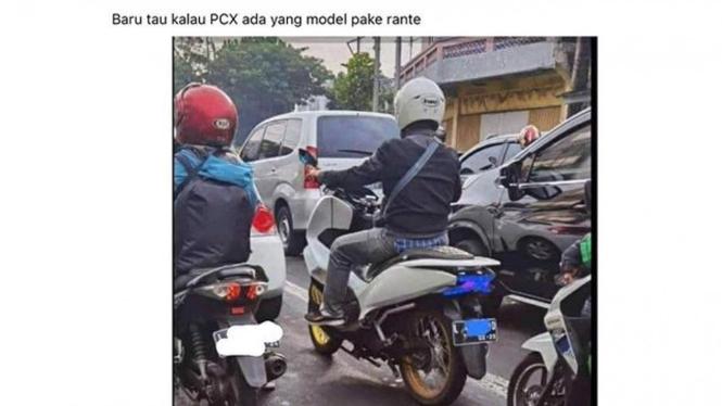 Sepeda motor Honda PCX ini bikin warganet heran.