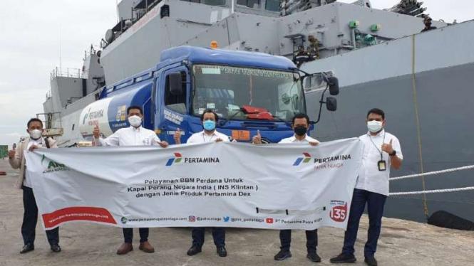 Perdana Pertamina isi BBM kapal perang India di Belawan