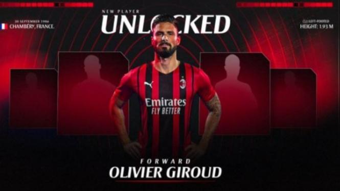 Striker baru AC Milan, Olivier Giroud.