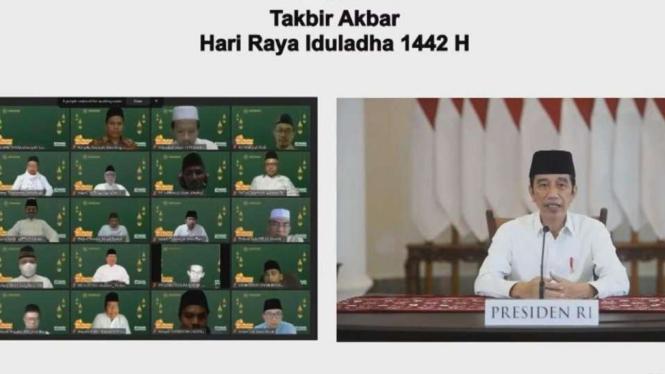 Presiden Jokowi gelar takbir akbar virtual Idul Adha 1442 H.