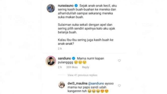 Screenshot komentar Sandiaga Uno di kolom komentar IG Nur Asia Uno