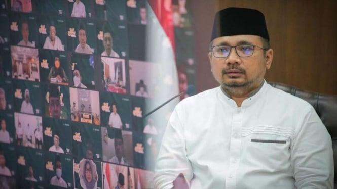 Menteri Agama Yaqut Cholil Qoumas dalam acara tahlil nasional.