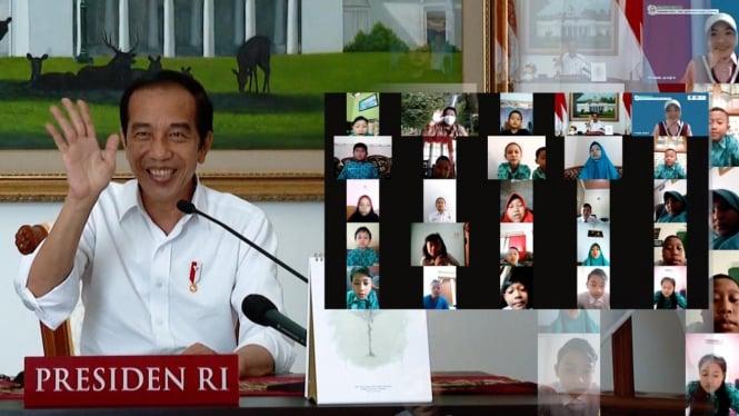 Presiden Jokowi Dialog Daring dengan Anak-anak SD