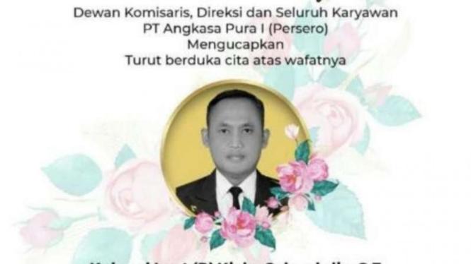 Poster digital ucapan belasungkawa atas meninggalnya General Manager PT Angkasa Pura I Juanda Kolonel Laut (P) Kicky Salvachdie.