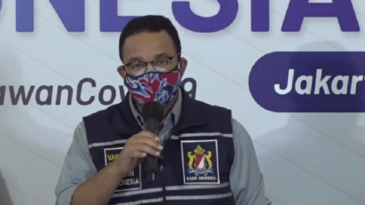 Gubernur DKI Jakarta Anies Baswedan di acara vaksinasi Kadin Indonesia