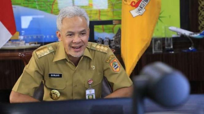 Gubernur Jawa Tengah Ganjar Pranowo saat rapat koordinasi secara virtual Rembug Desa dengan Bupati dan para kepala se-Kabupaten Banyumas, Senin, 26 Juli 2021.