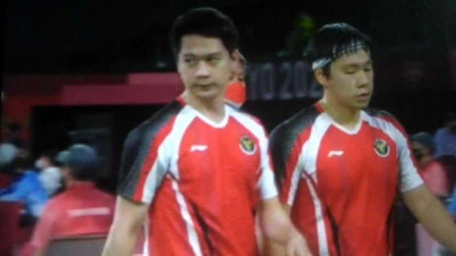 Pasangan ganda putra Indonesia, Kevin Sanjaya Sukamuljo/Marcus Fernaldi Gideon.