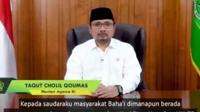 Menag Yaqut Cholil Qoumas ucapkan selamat hari raya bagi umat Bahai