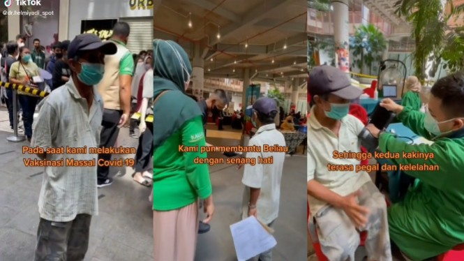 Viral Video Bapak Tua Naik Sepeda 15 Km demi Vaksin (TikTok/dr.helmiyadi_spot)