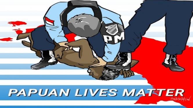Karikatur tindakan kekerasan dan tidak manusiawi yang dilakukan oleh anggota Pomau terhadap penyandang difabel Steven | Gambar istimewa