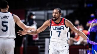 Kevin Durant bersama Timnas Basket Amerika Serikat di Olimpiade Tokyo 2020