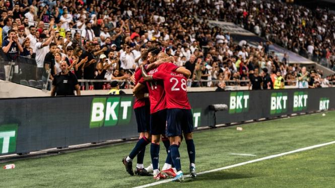 Pemain Lille rayakan kemenangan atas PSG