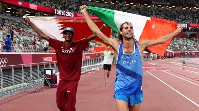 Atlet Qatar, Mutaz Barshim dan Gianmarco Tamberi (Italia)