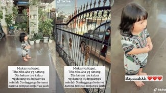 Viral Video Ekspresi Anak Kecil Kaget saat Bapaknya Pulang (TikTok/cutebabyjess)
